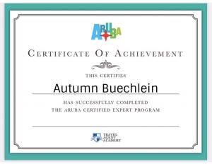 Autumn Buechlein Aruba Certification 2