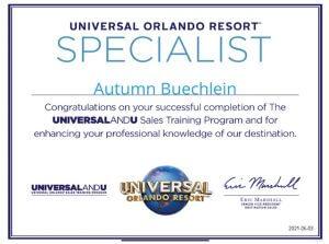 Autumn Buechlein Universal Orlando Specialist Certificate