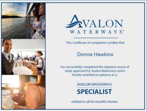 Donna Hawkins Avalon Waterways Certificate