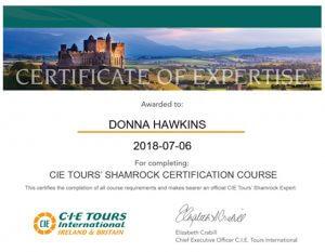 Donna Hawkins CIE Ireland and Britain Certificate