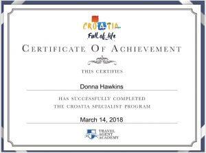 Donna Hawkins Croatia Certificate