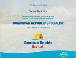 Donna Hawkins Dominican Republic Specialist Certificate