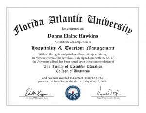 Donna Hawkins Florida Atlantic University Hospitality and Tourism Management