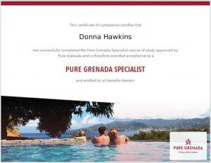 Donna Hawkins Grenada Certificate