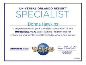 Donna Hawkins Universal Orlando Specialist Certificate