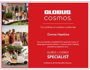 Donna Hawkins Globus Cosmos Specialist Certificate