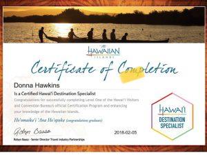 Donna Hawkins Hawaii Certificate