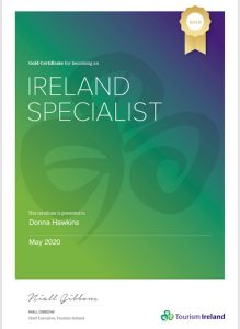 Donna Hawkins Ireland Specialist Certificate