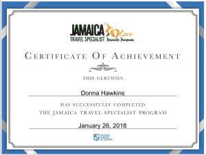 Donna Hawkins Jamaica Certificate