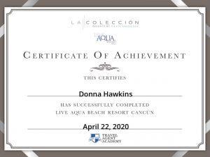 Donna Hawkins Live Aqua Beach Cancun Certificate