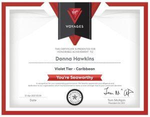 Donna Hawkins Virgin Voyages Violet Tier Caribbean Certificate