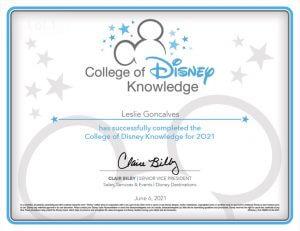 Leslie Goncalves College of Disney Knowledge Certificate
