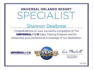 Shannon Dewbrew Universal Orlando Specialist Certificate