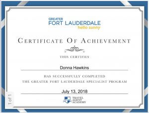 Donna Hawkins Ft. Lauderdale Certificate