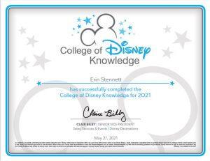 Erin Stennett Certificate of Disney Knowledge